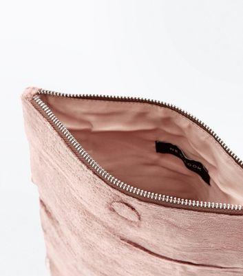 Shell Pink Velvet Embellished Foldover Clutch Bag New Look