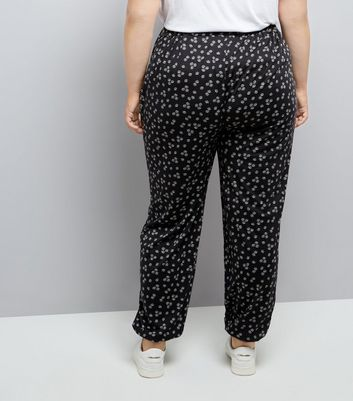 Curves Black Floral Jersey Joggers New Look