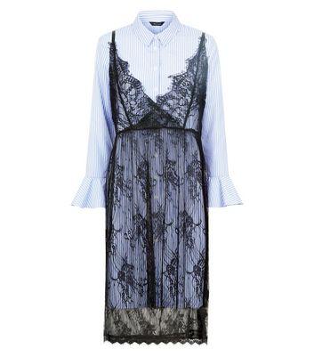 Blue Stripe Lace Overlay Shirt Dress New Look