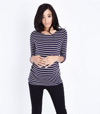 Maternity Blue Stripe 3/4 Sleeve T-Shirt New Look