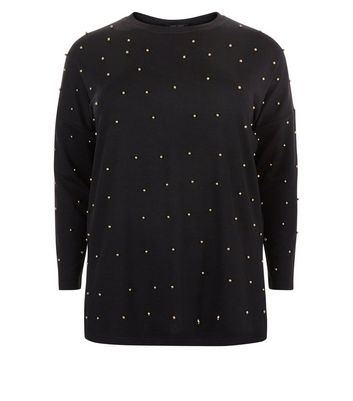 Curves Black Stud Bead Embellished Jumper New Look