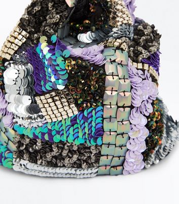 Blue Embellished Patchwork Mini Bucket Shoulder Bag New Look