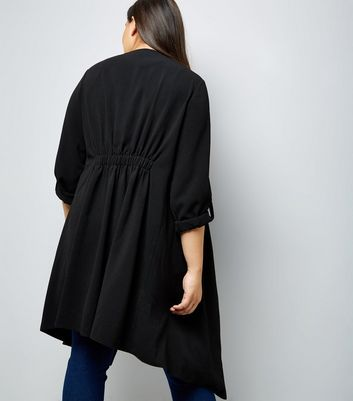 Curves Black Waterfall Duster Jacket New Look