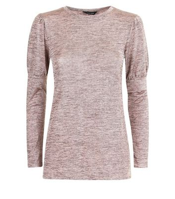 Pink Textured Fine Knit Puff Shoulder Top New Look
