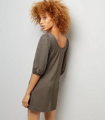 Black Check Puff Sleeve Dress New Look