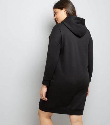 Curves Black Hoodie Longline Dress New Look