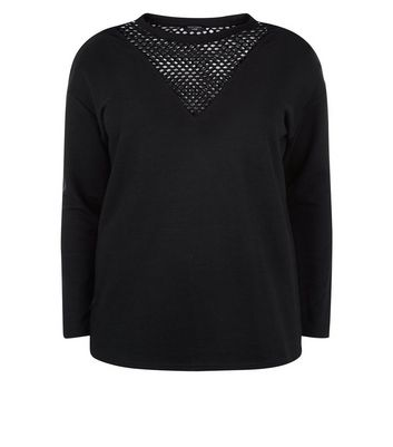 Curves Black Mesh Insert Sweater New Look