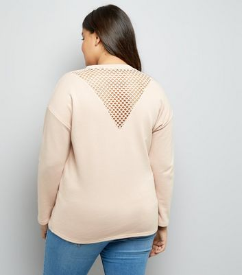 Curves Shell Pink Mesh Insert Sweater New Look