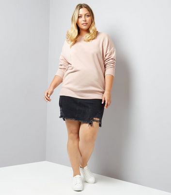 Curves Shell Pink Sweater New Look