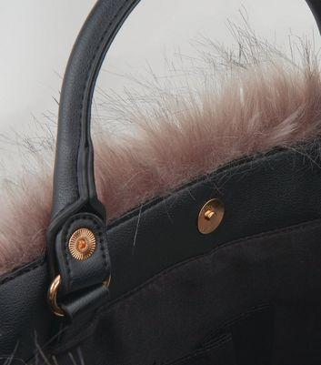 Black Faux Fur Trim Tote Bag New Look