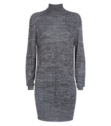 JDY Silver Funnel Neck Jumper Dress New Look