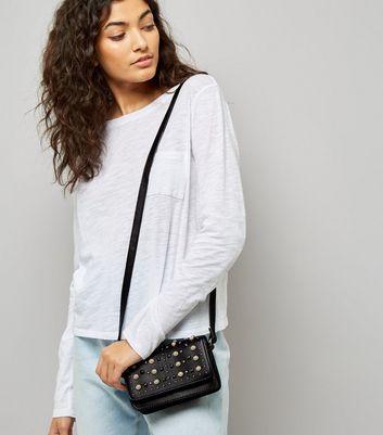 Black Pearl Stud Embellished Shoulder Bag New Look
