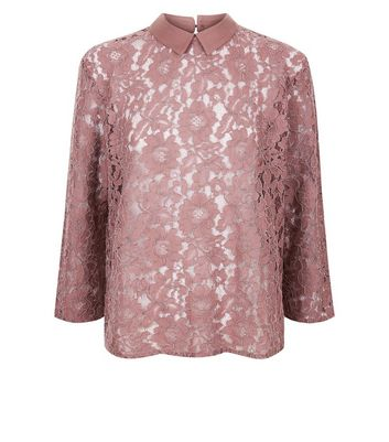 JDY Deep Pink Floral Lace Blouse New Look
