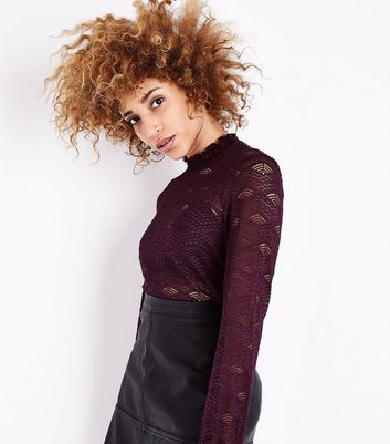 JDY Dark Purple Lace High Neck Top New Look