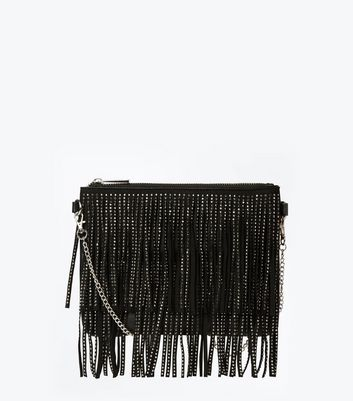 Black Diamante Double Fringe Shoulder Bag New Look