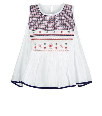 Blue Vanilla White Embroidered Swing Top New Look