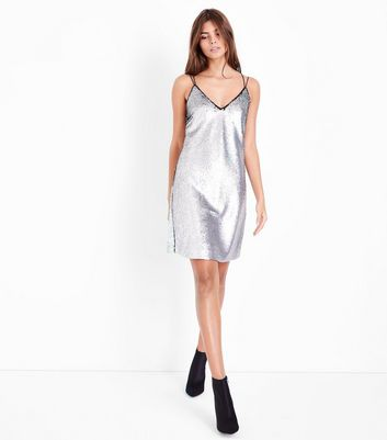 Silver Premium Matte 2 in 1 Sequin Slip Dress New Look