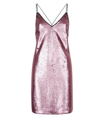 Rose Gold Premium 2 in 1 Sequin Slip Dress New Look