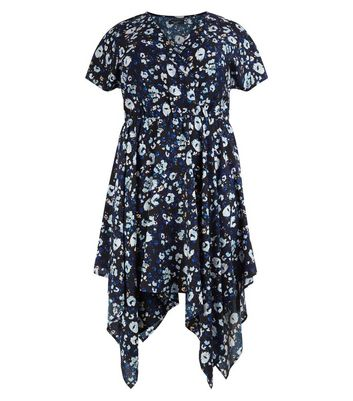 Curves Blue Animal Print Hanky Hem Dress New Look
