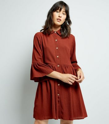 Mela Brown Bell Sleeve Shirt Dress New Look