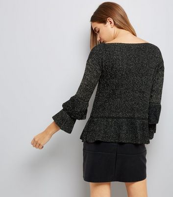 Mela Black Peplum Layered Sleeve Jumper New Look