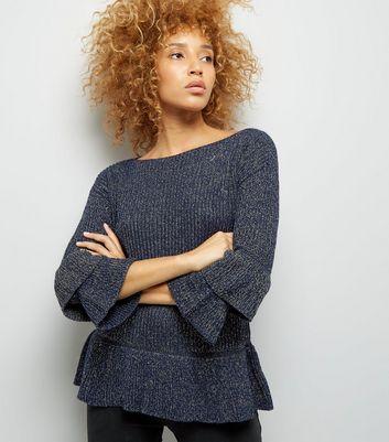 mela-navy-frill-bell-sleeve-fine-knit-jumper