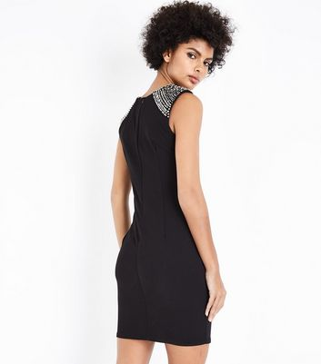 Mela Black Embellished Shoulder Bodycon Dress New Look