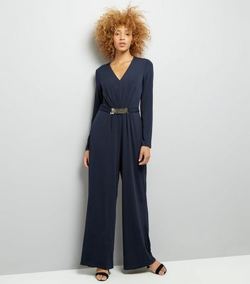 Mela Navy Belted Wide Leg Jumpsuit New Look