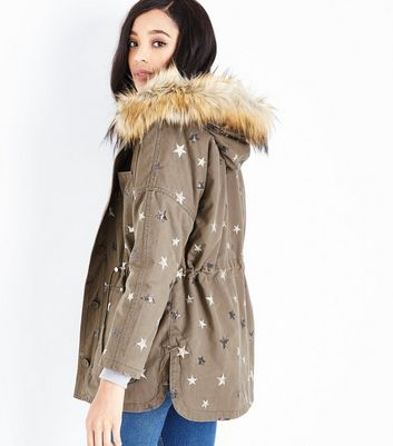 Blue Vanilla Olive Green Star Embellished Parka Jacket New Look