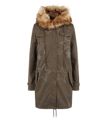 Blue Vanilla Olive Green Star Studded Parka New Look