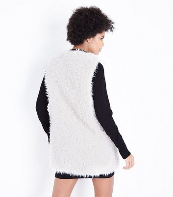 Cream Teddy Fur Gilet New Look