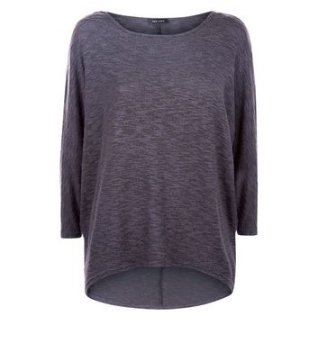 Dark Grey Fine Knit Batwing Sleeve Top New Look