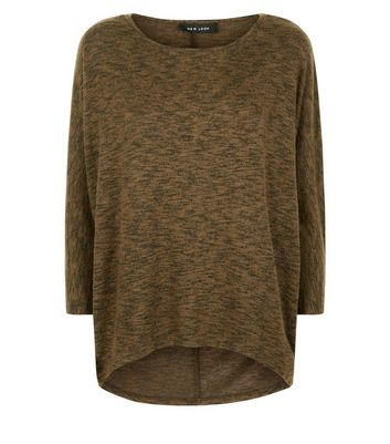 Khaki Fine Knit Batwing Sleeve Top New Look