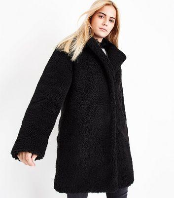 Black Faux Fur Teddy Coat New Look