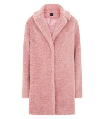 Pink Faux Fur Teddy Coat New Look