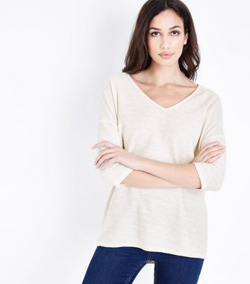 Cream Fine Knit V Neck Top New Look