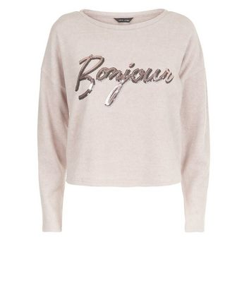 Pink Bonjour Sequin Embellished Jumper New Look