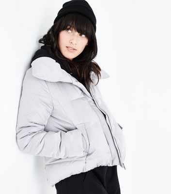 Pale Grey Cropped Puffer Jacket New Look