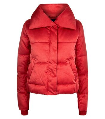 Red Cropped Puffer Jacket New Look