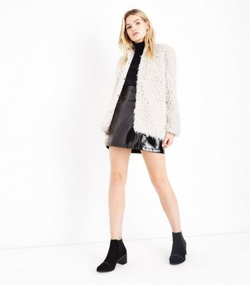 Cream Faux Sheepskin Coat New Look