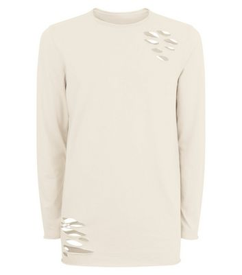 Stone Ripped Long Sleeve T-Shirt New Look