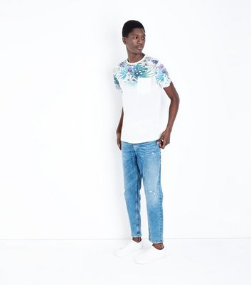 White Faded Leaf Print T-Shirt New Look