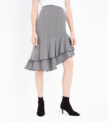 Innocence Black Check Asymmetrical Frill Hem Skirt New Look
