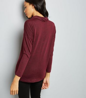 Burgundy Fine Knit Cowl Choker Neck Top New Look