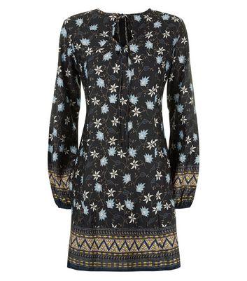 Mela Black Floral Print Tunic Dress New Look