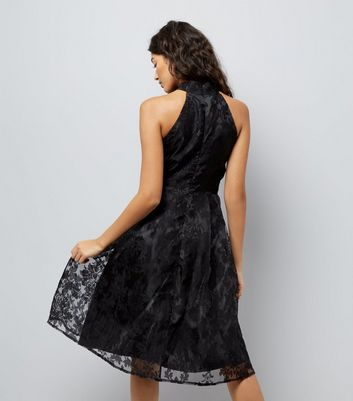 Mela Black Flocked Skater Dress New Look