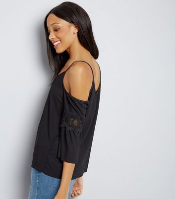 Black Lace Trim Cold Shoulder Top New Look