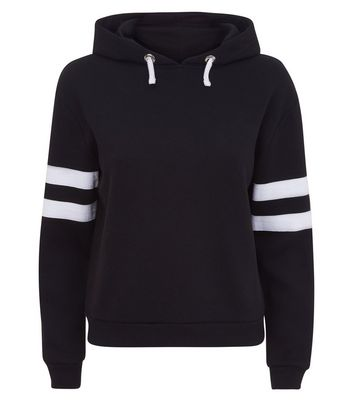 Teens Black Stripe Sleeve Hoodie New Look