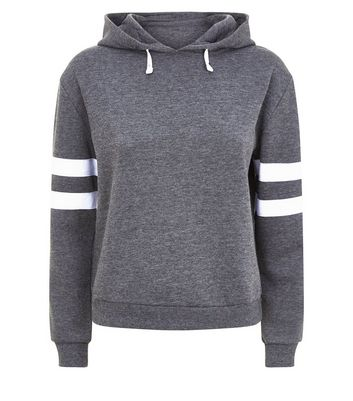Teens Dark Grey Stripe Sleeve Hoodie New Look