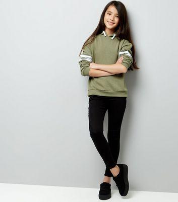 Teens Khaki Stripe Sleeve Hoodie New Look